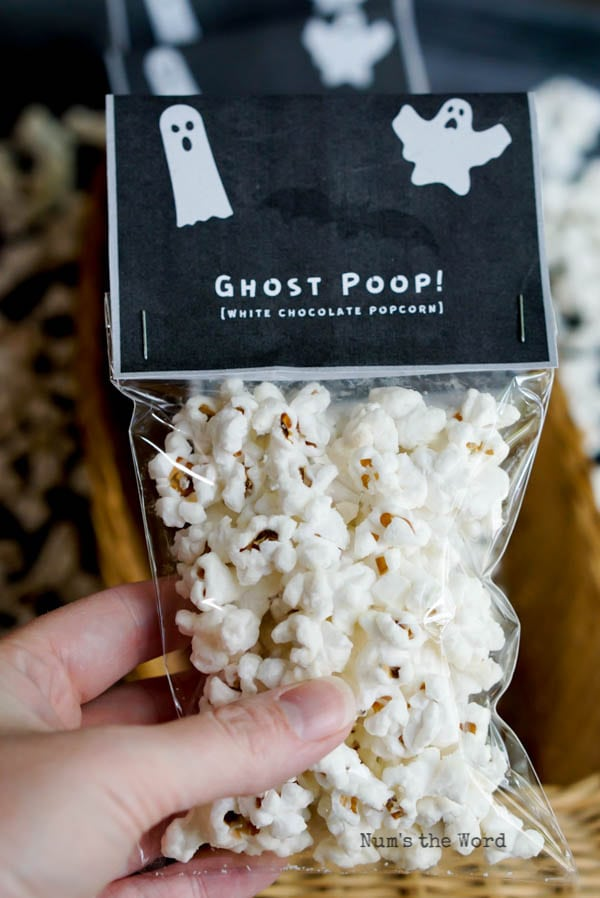 ghost poop with tag packaged to give to friends.