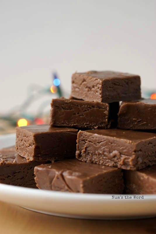 Chocolate Fudge - photo of fudge on platter. Photo is a side view.