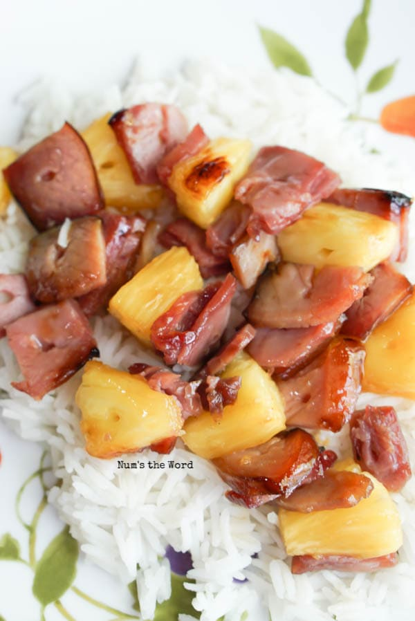 Ham Kabobs - meat and pineapple removed from skewer and served over rice