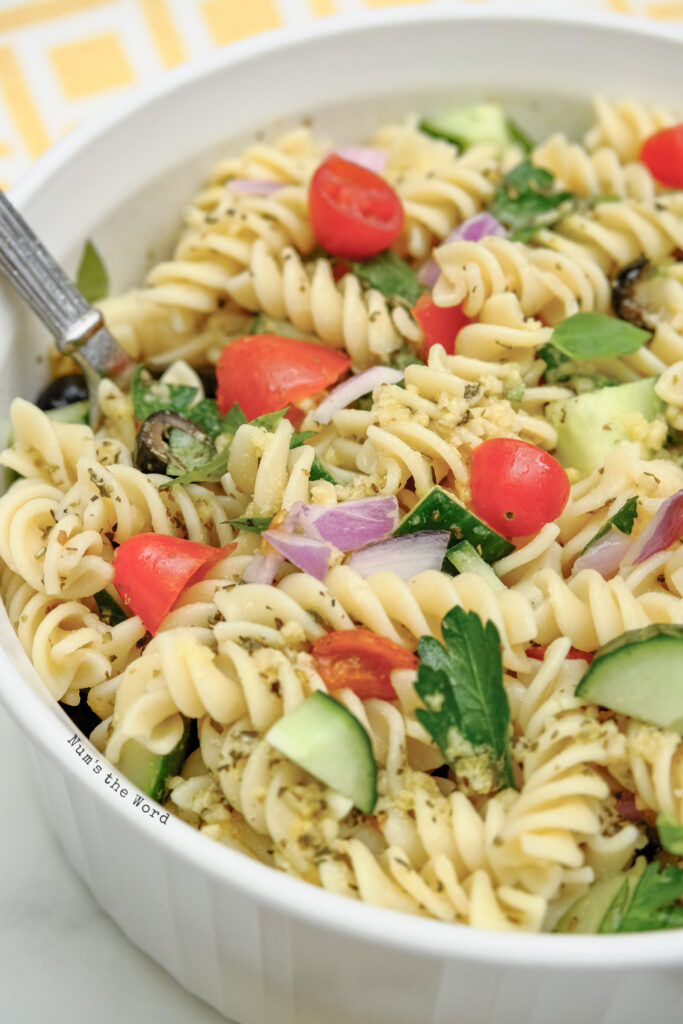 Pasta Salad - pasta ready to serve to guests