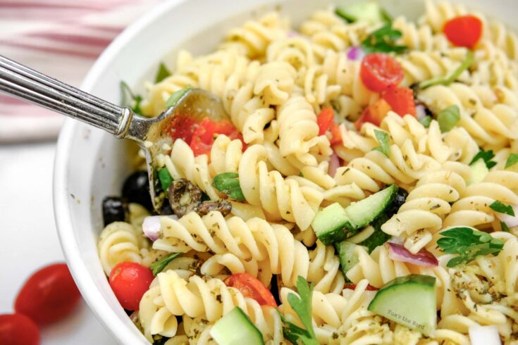 Pasta Salad - top side view of