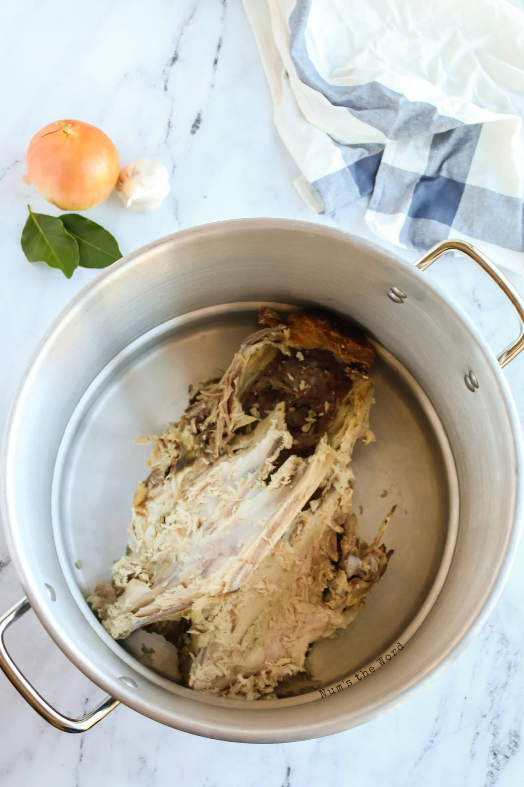 turkey carcass in a large pot