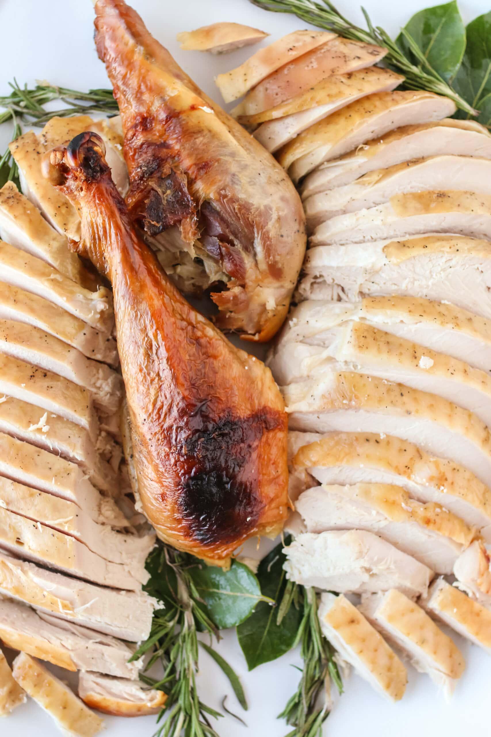 close up image of carved turkey on platter