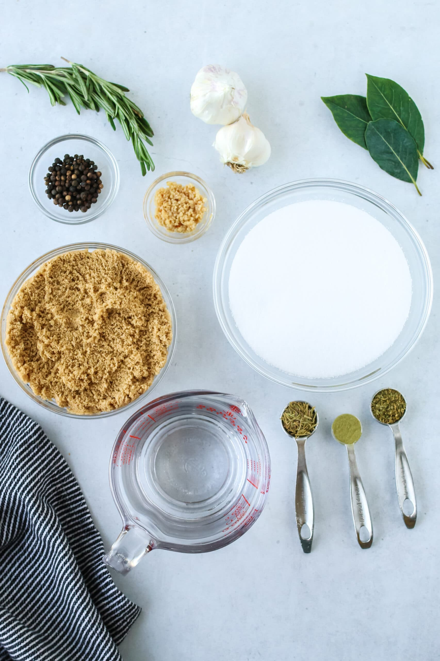 Brined Turkey - all seasonings and ingredients laid out to brine a turkey.