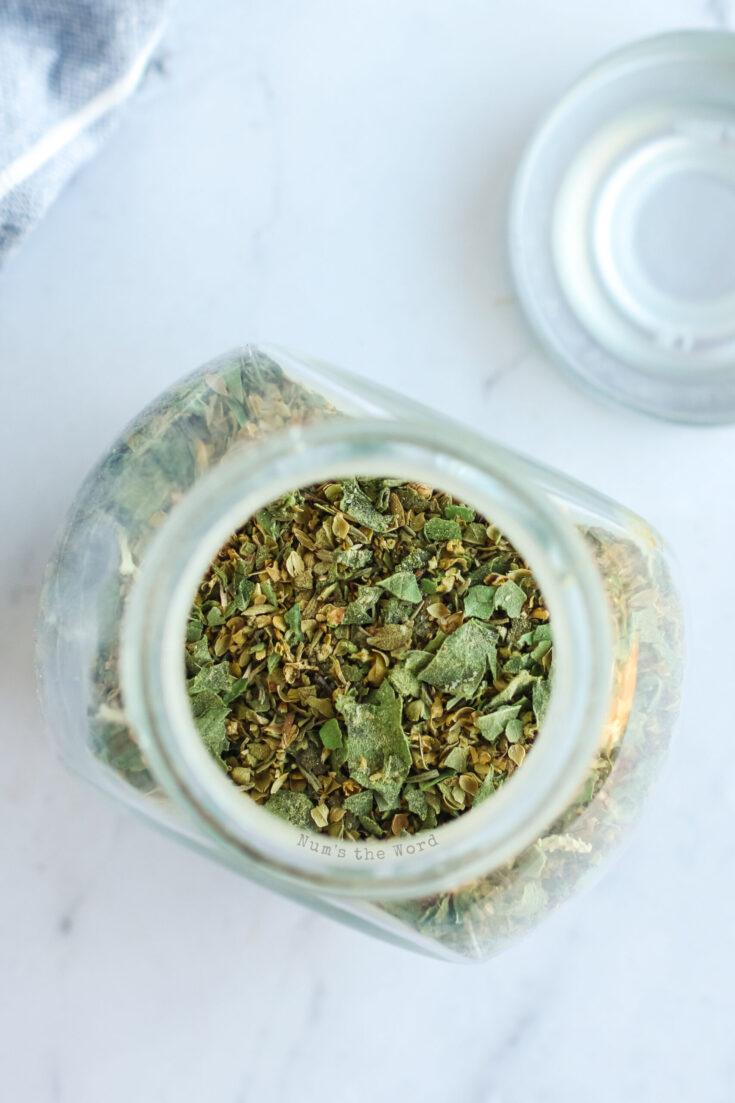 top view of seasonings in jar ready to use