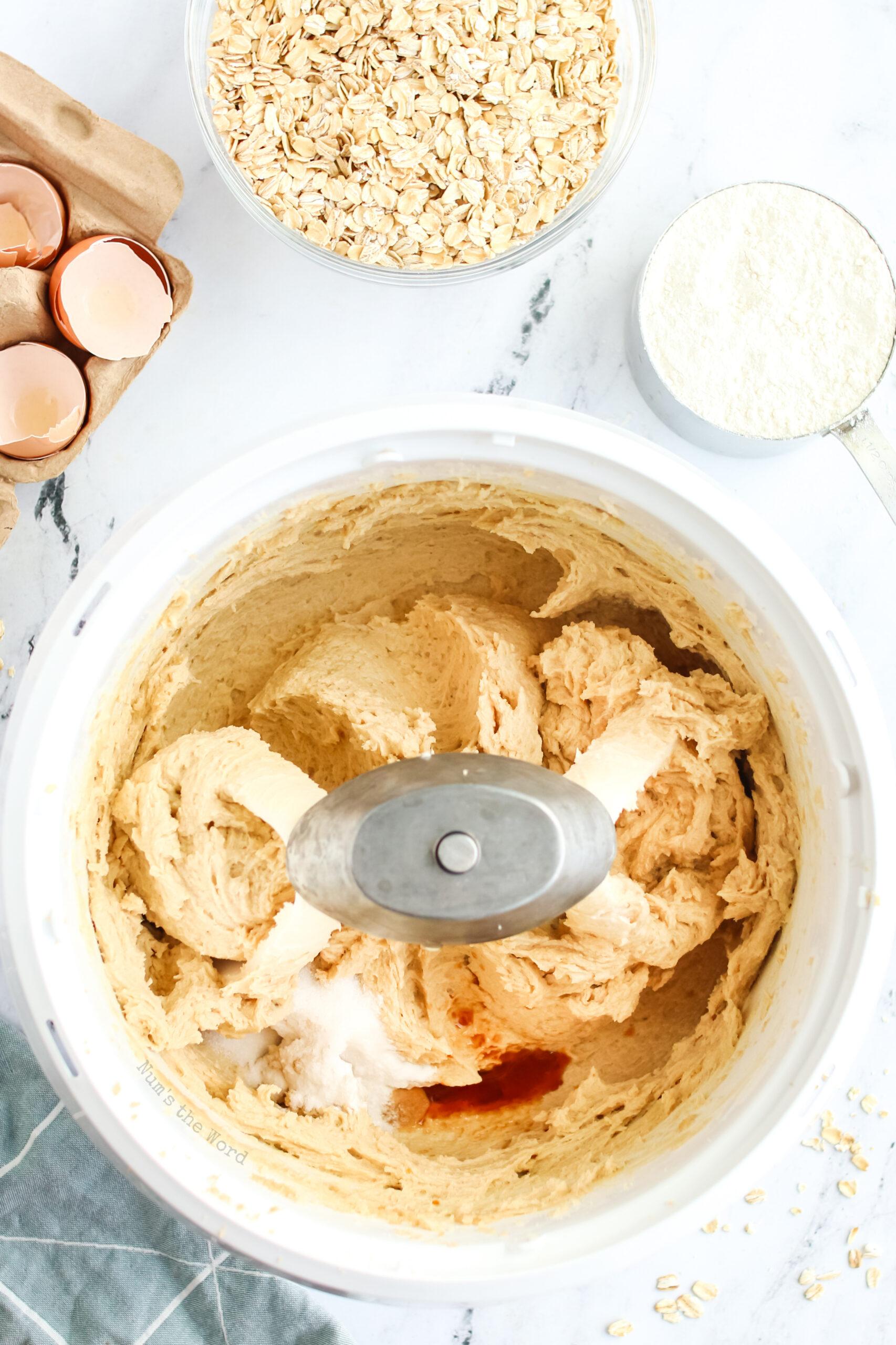 Vanilla, baking soda and salt added to mixer bowl.