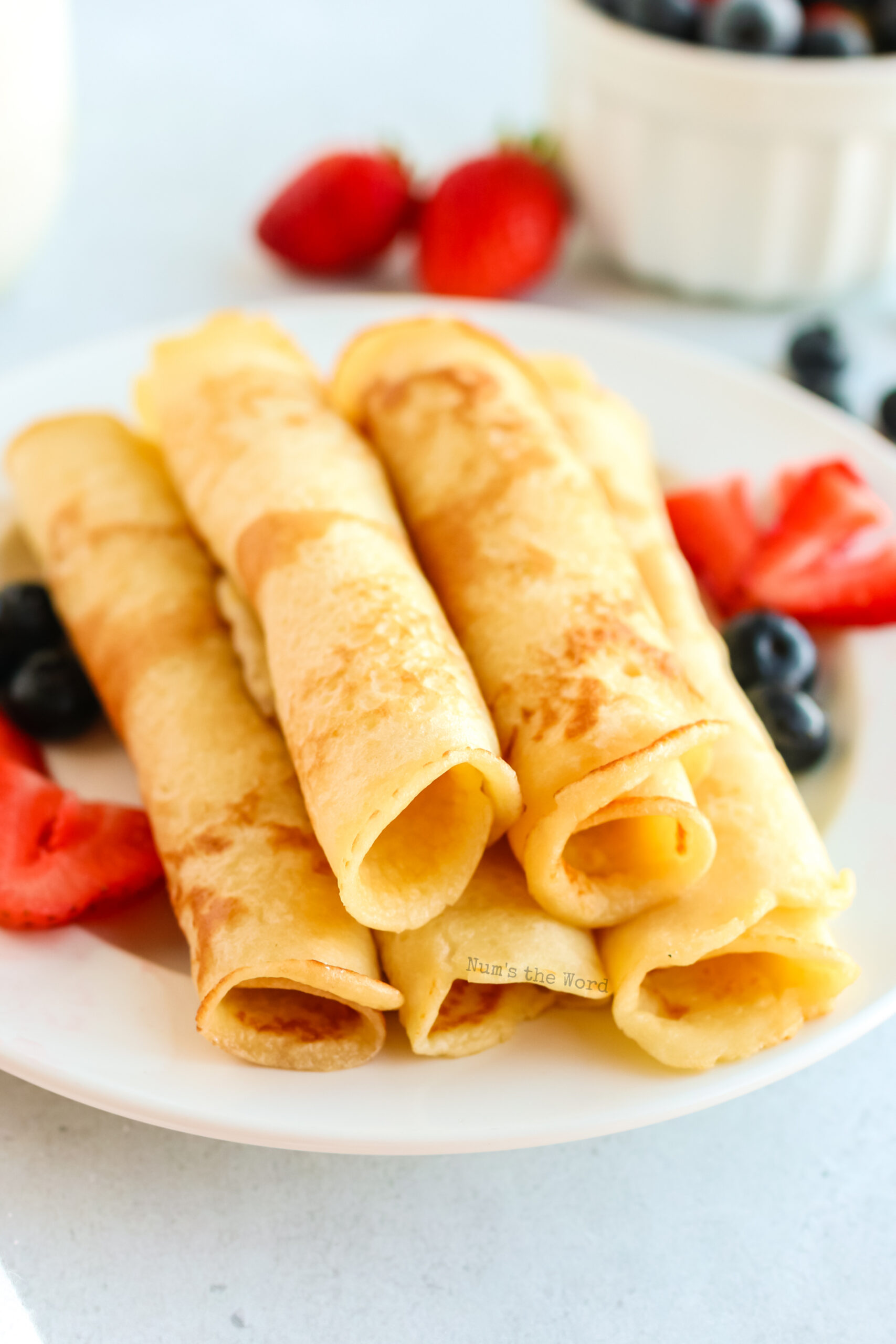 pancakes rolled up into logs