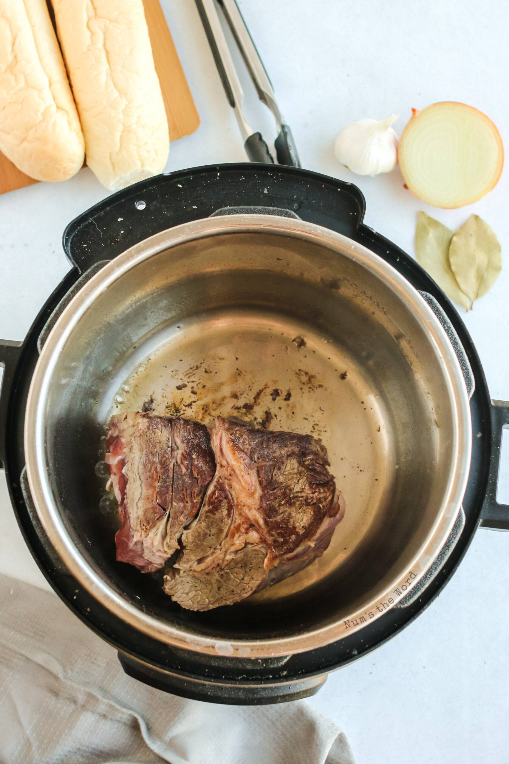 beef in instant pot being seared