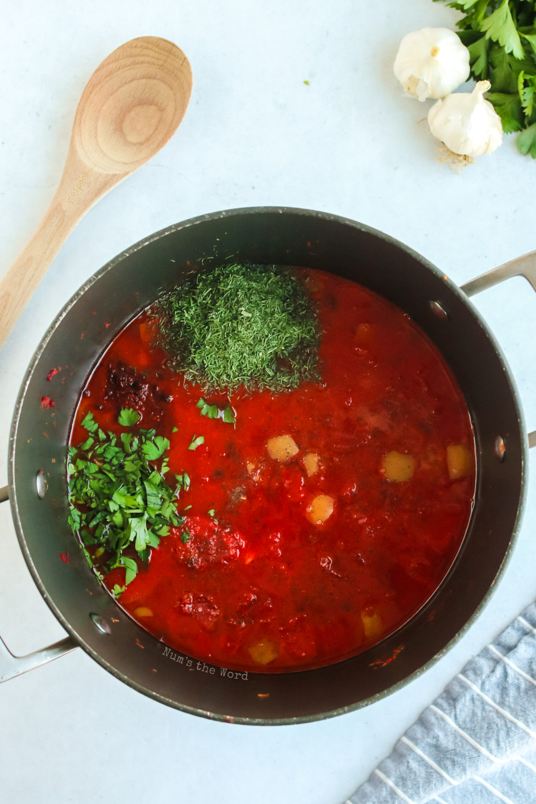 paprika, salt, pepper, sugar, dill, parsley and lemon juice added to borscht