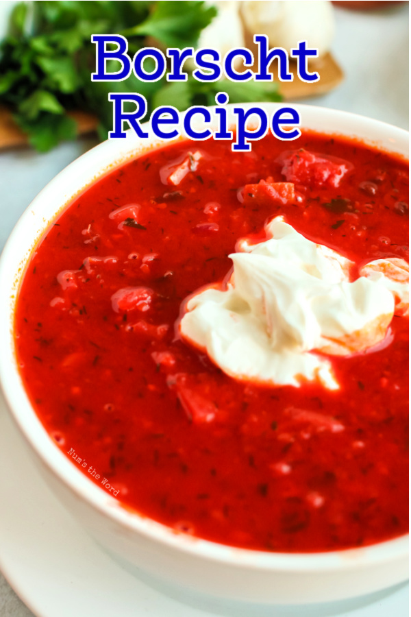 main image for recipe of borscht soup in a bowl with sour cream