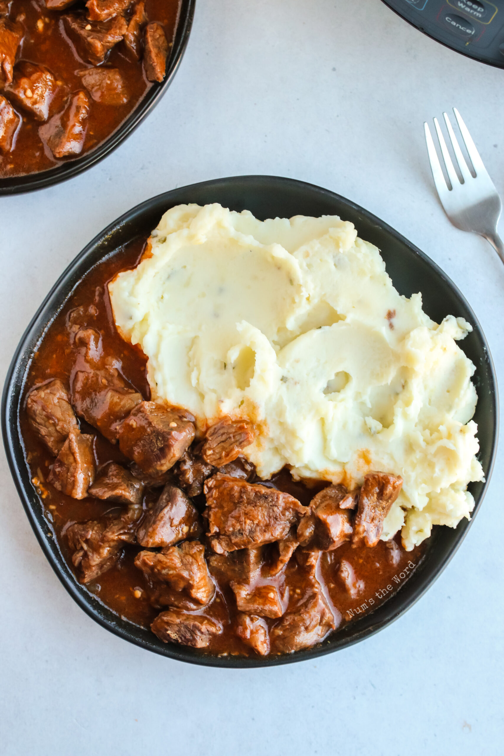 close up of plate with mashed potatoes and beef paprikash.