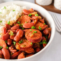 zoomed in side view of red beans and rice in a bowl