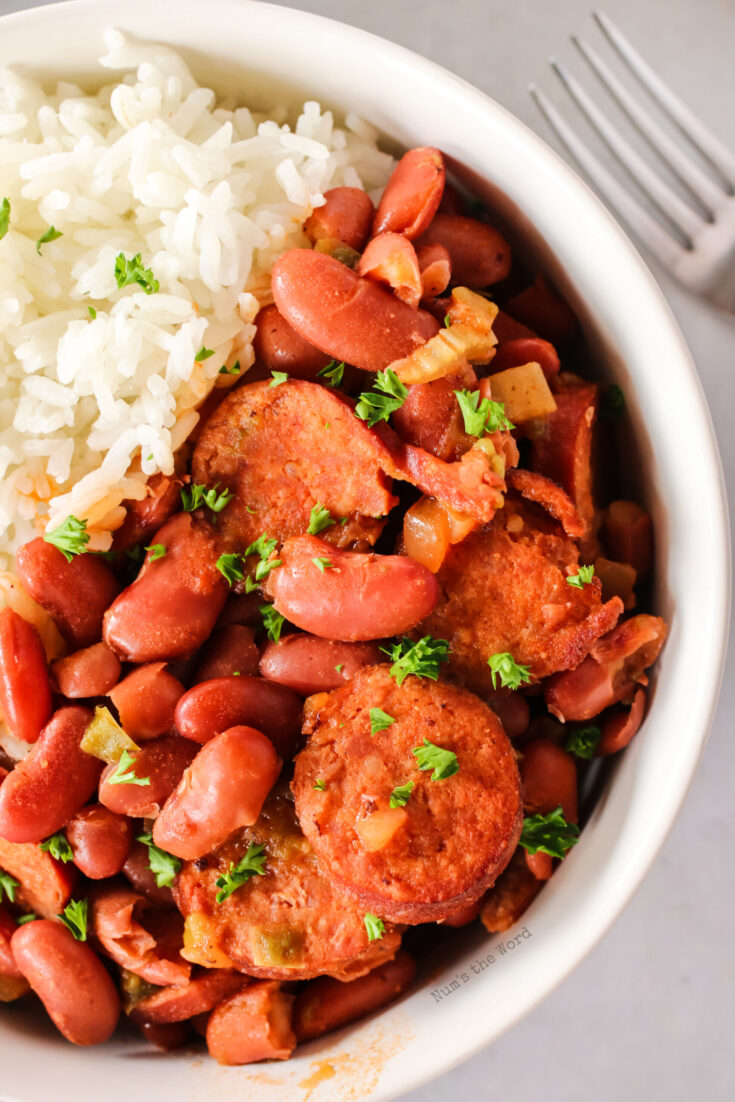 zoomed in image of red beans and rice in a bowl