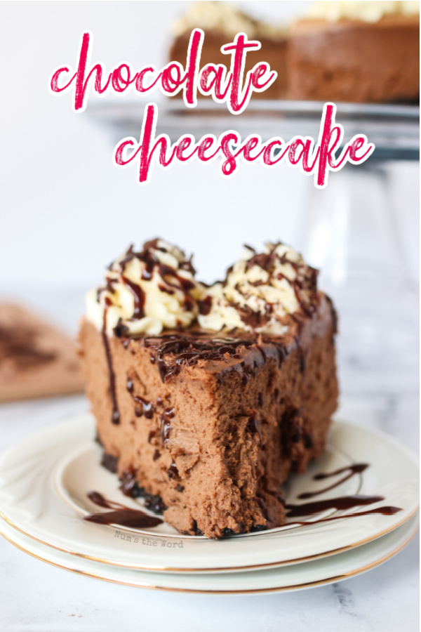 main image of chocolate cheesecake for recipe. Single slice drizzled in chocolate, ready to be eaten.