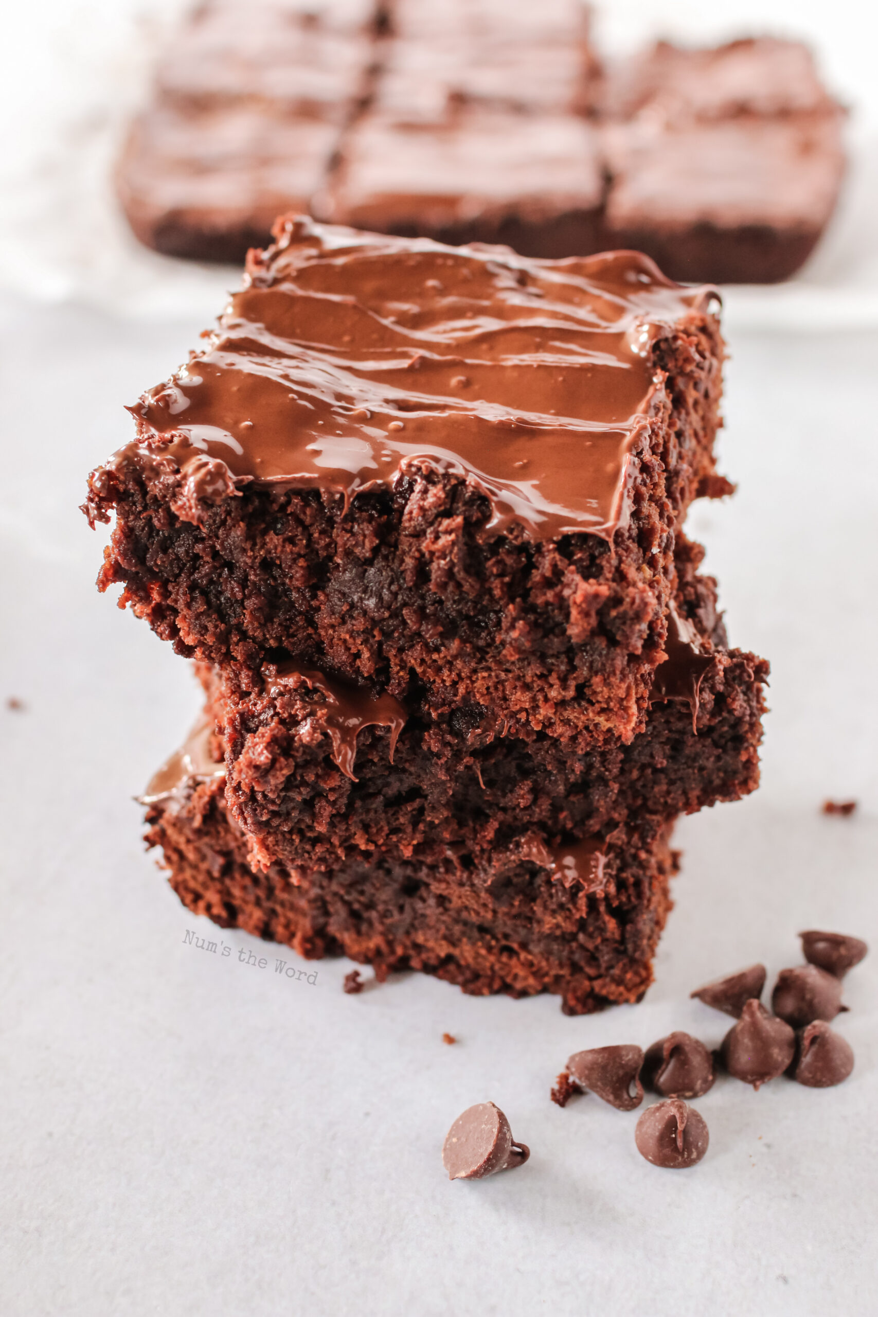 3 brownies stacked on top of each other