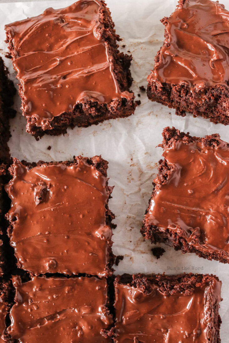 brownies scattered on parchment paper