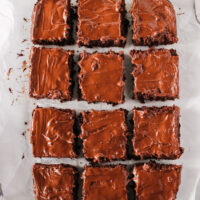 cooled brownie slab removed from pan. Then cut into 12 squares