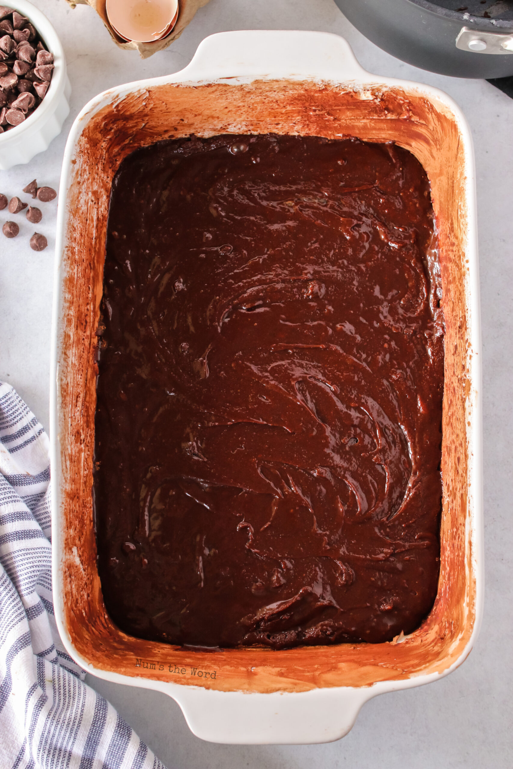 brownie mixture poured into prepared pan