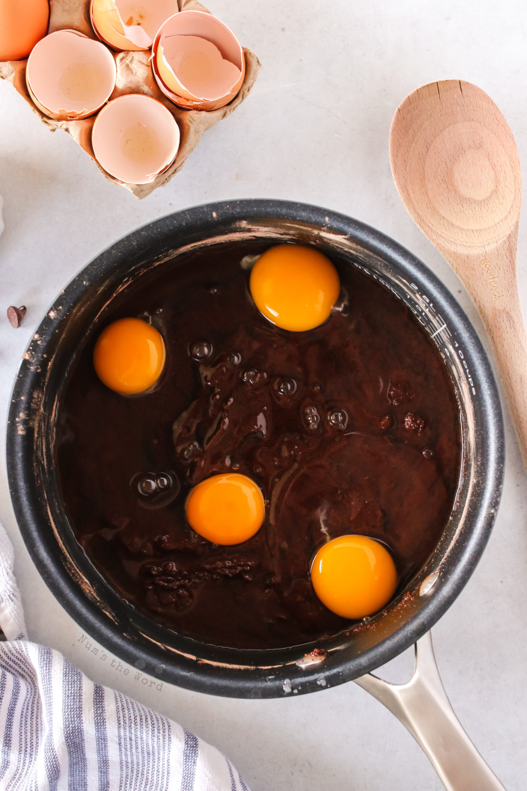 eggs added to brownie mixture.