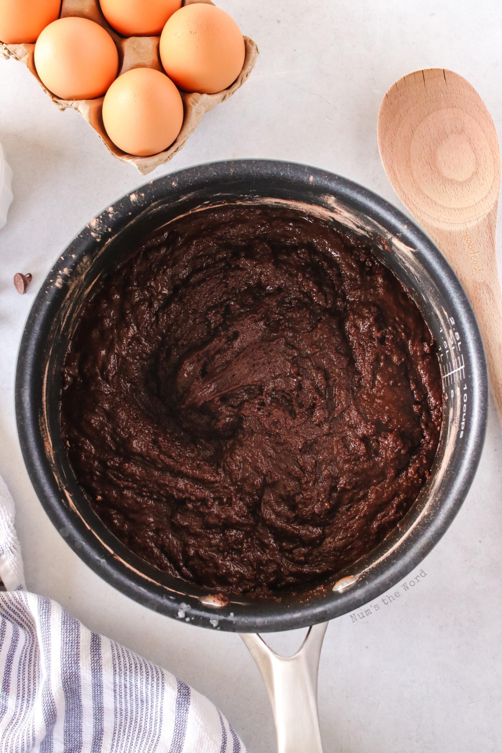 brownie mixture in sauce pan.