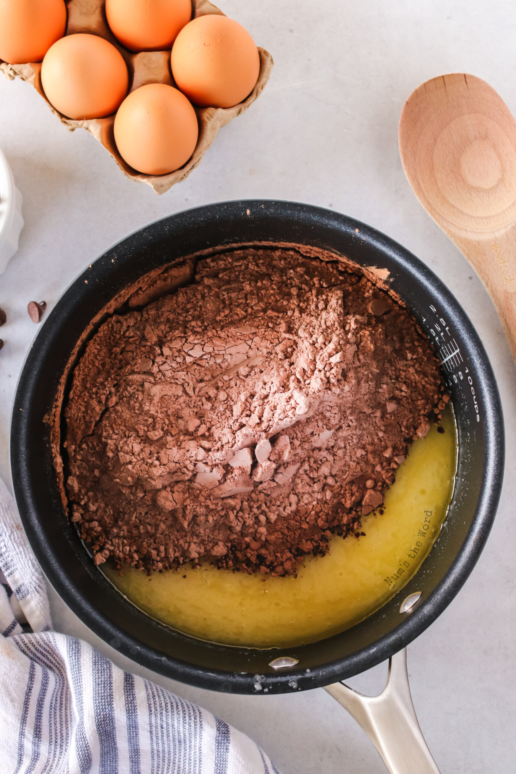 flour mixture poured into the butter saucepan.