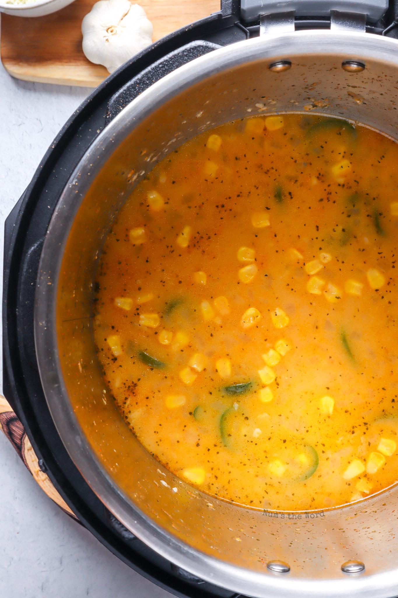 chicken broth added to corn mixture.