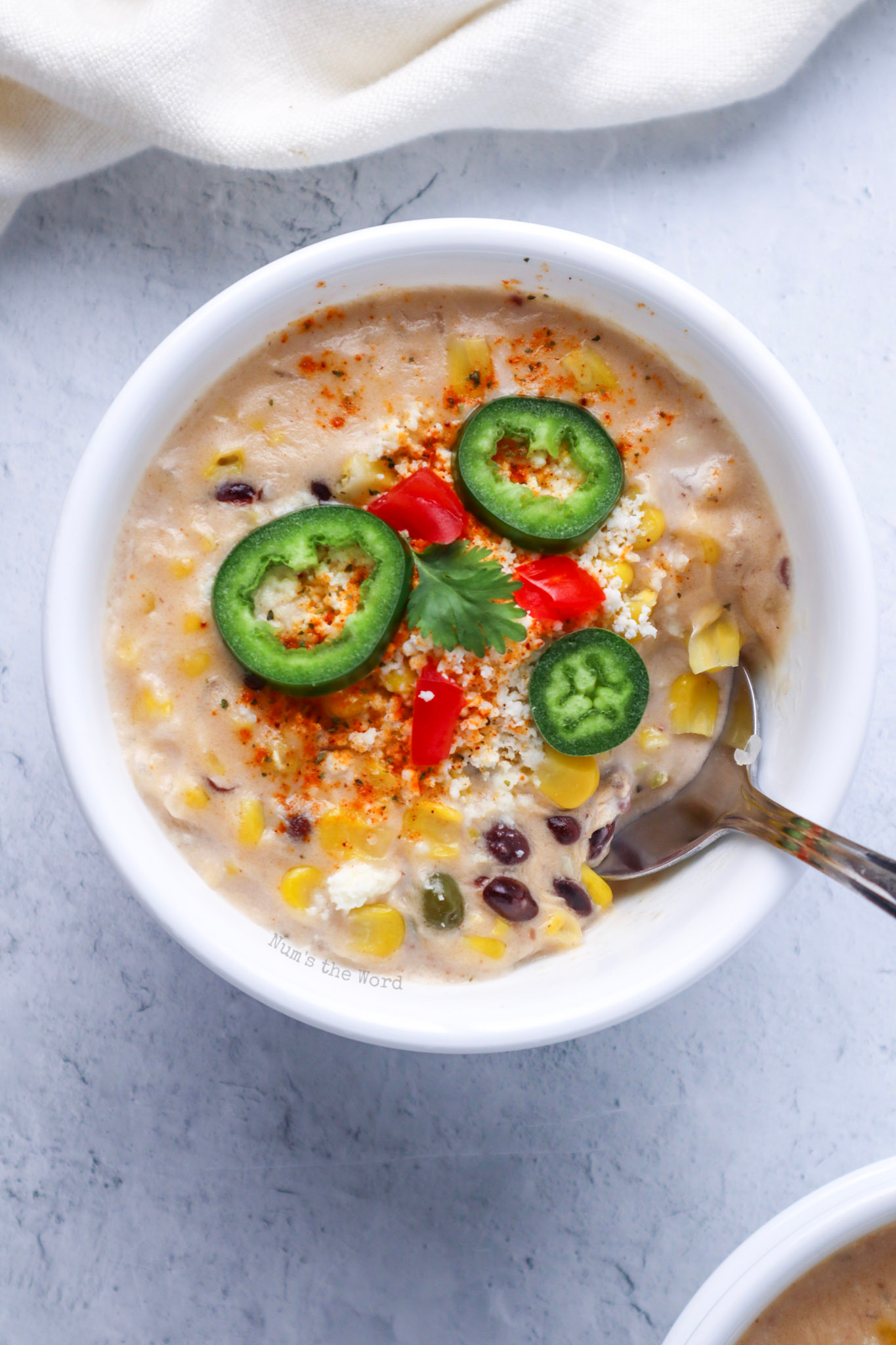 soup in a bowl with toppings of
