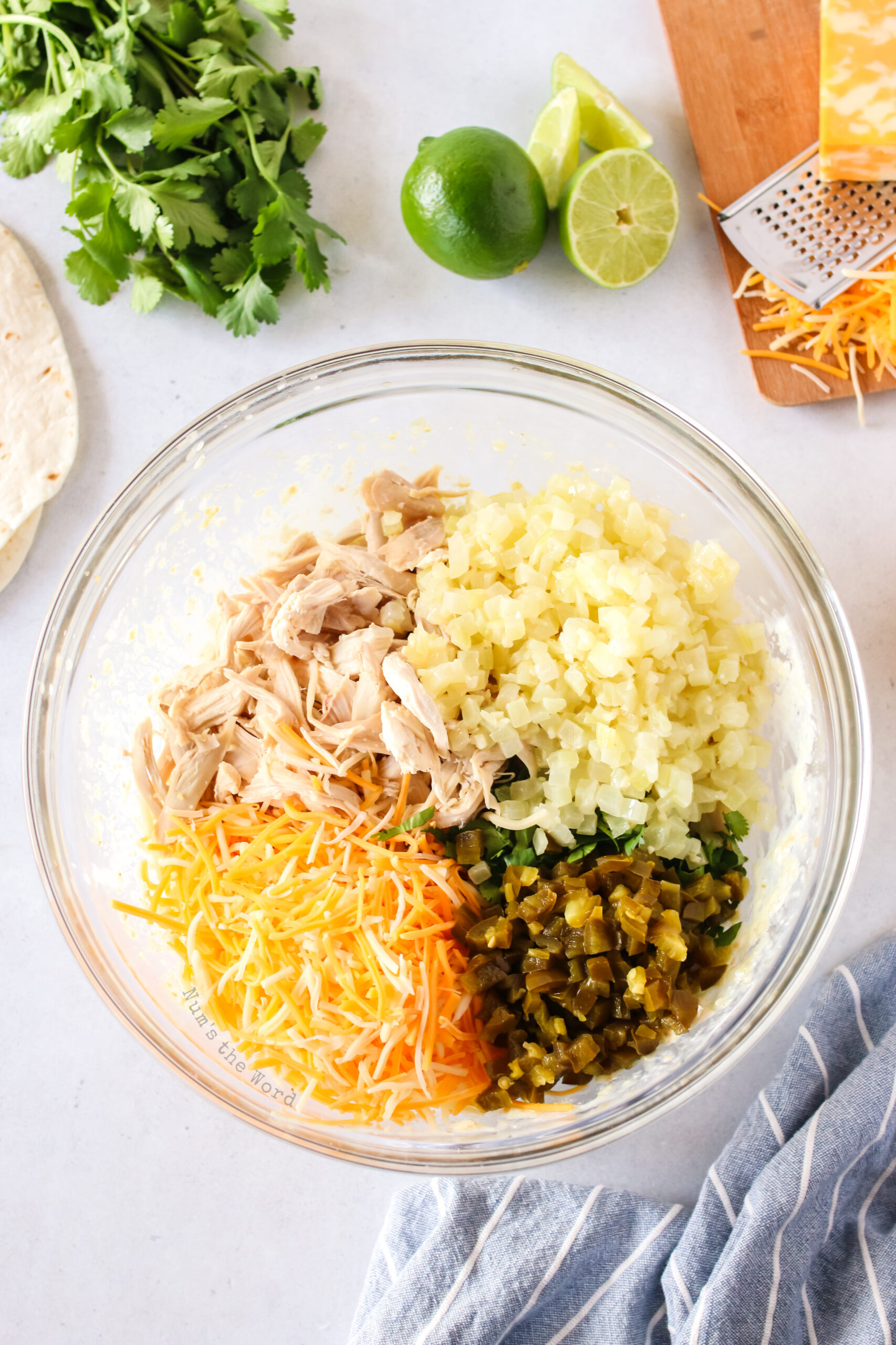 chicken, cheese, cilantro, onion and jalapeno peppers added to blended cream cheese mixture. Unmixed.