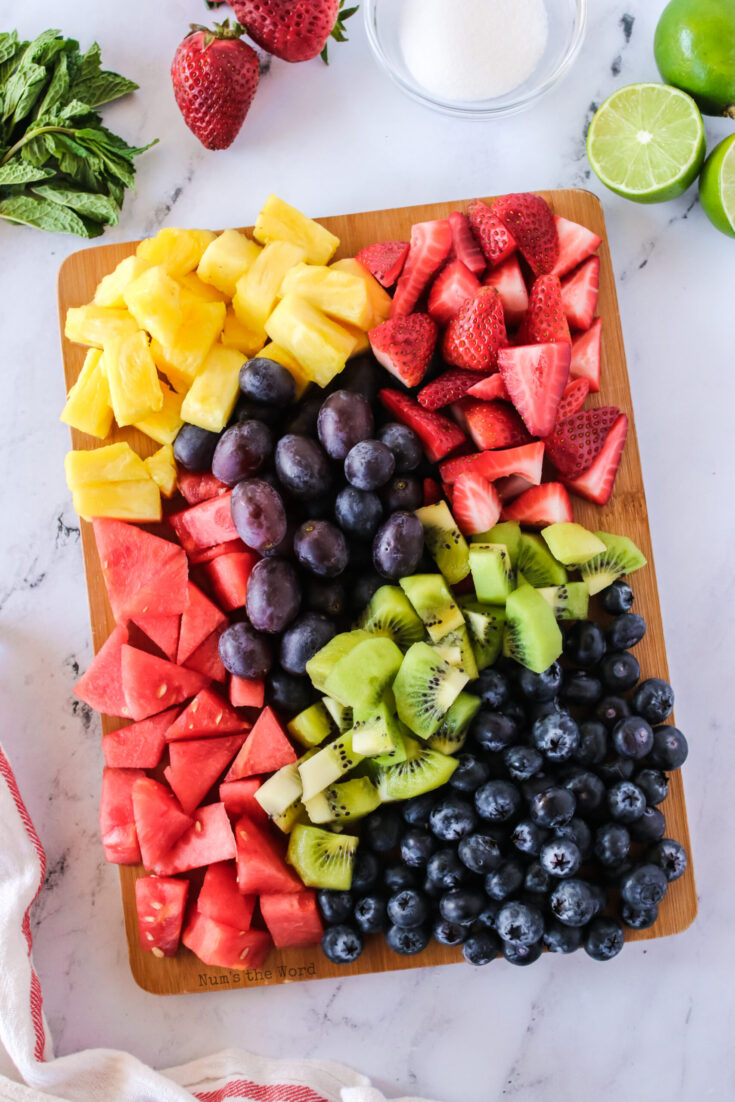 All cut fruits on a cutting board