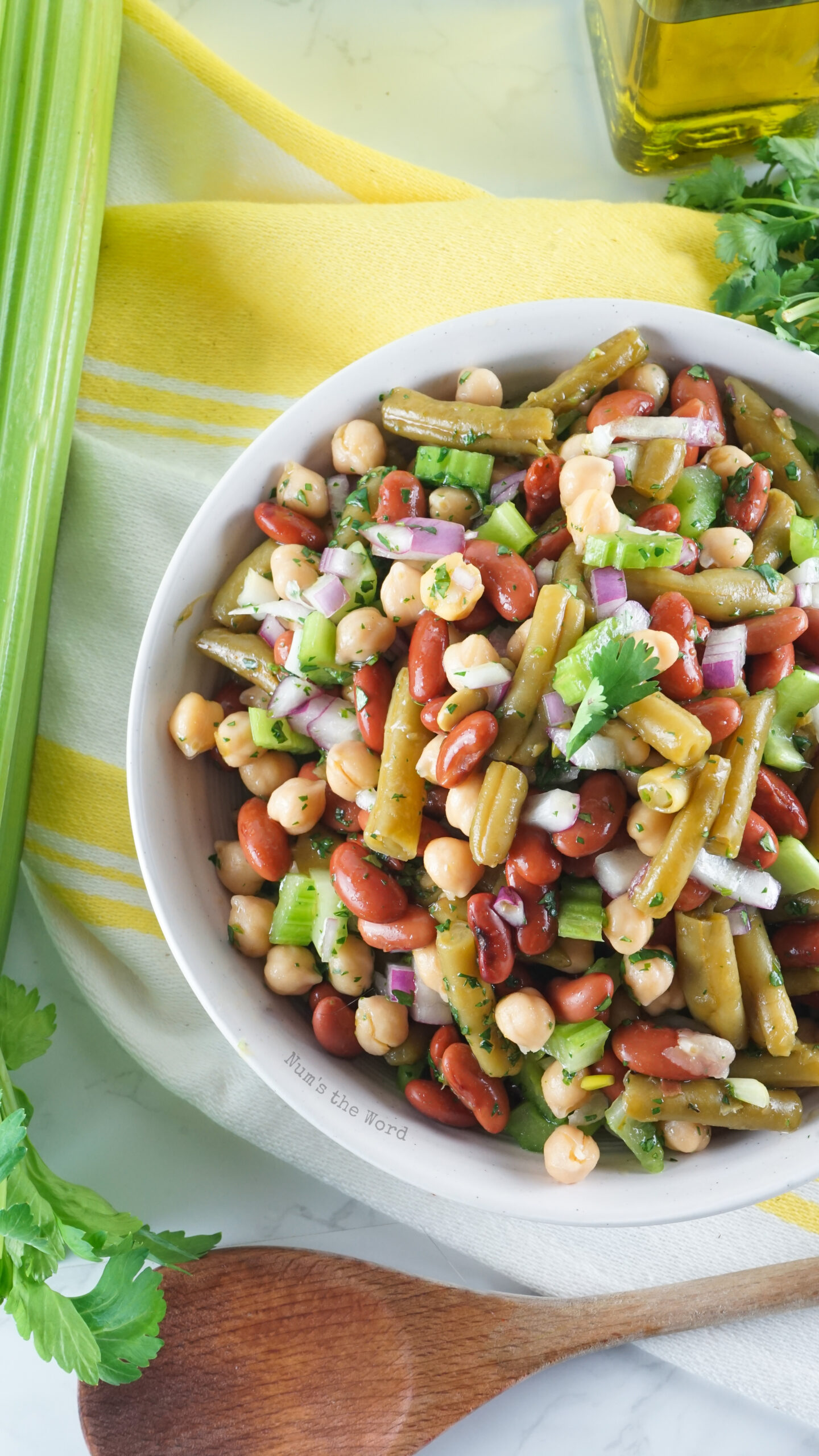 top view of 3 bean salad in a serving bowl.