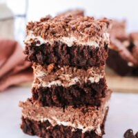 zoomed out image of 3 brownies stacked on top of each other.