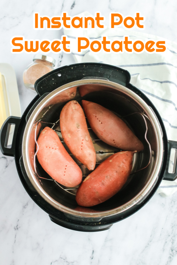 Main image for recipe of 4 sweet potatoes in an instant pot.