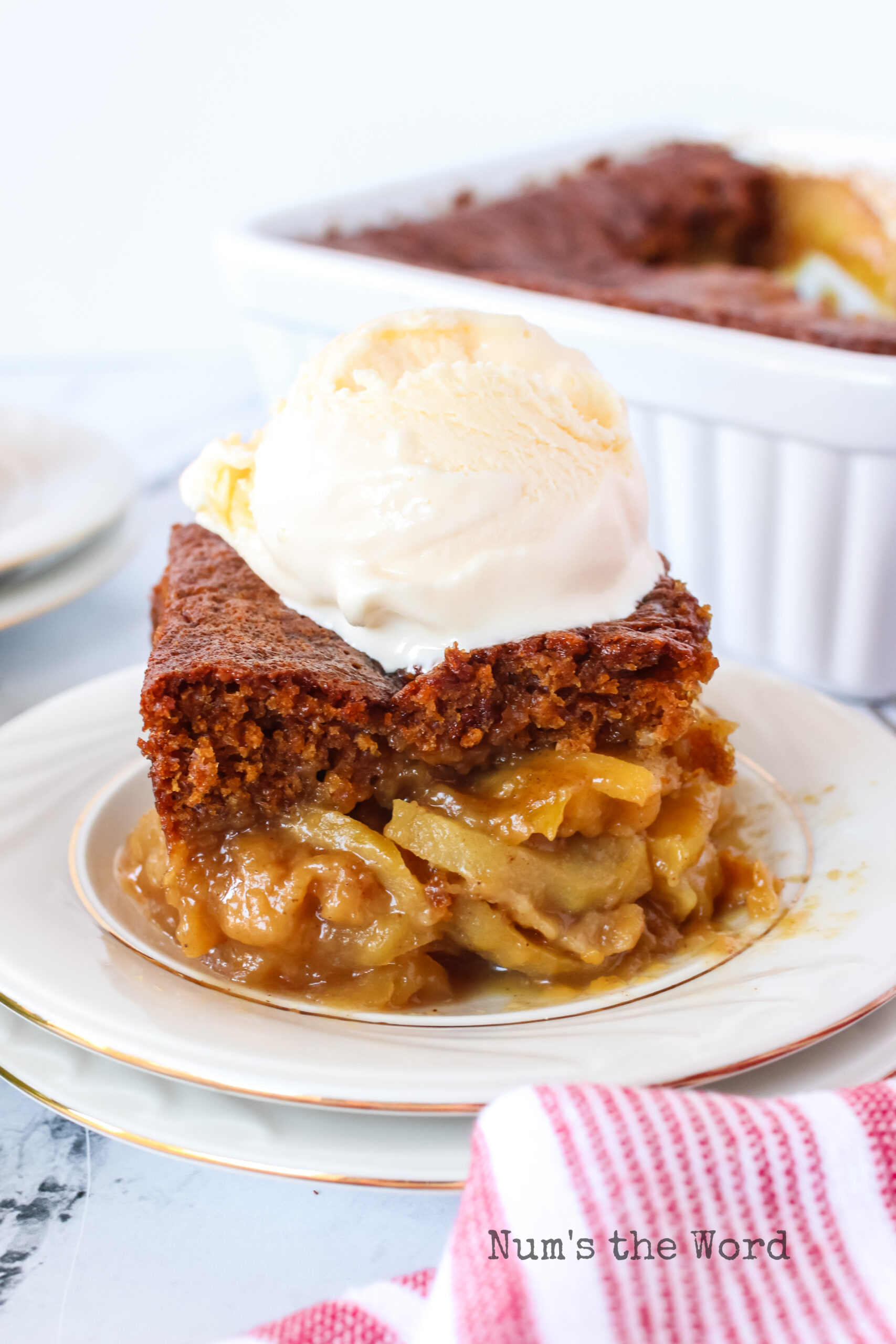 slice of cake on a plate with apples under and a scoop of ice cream on top.