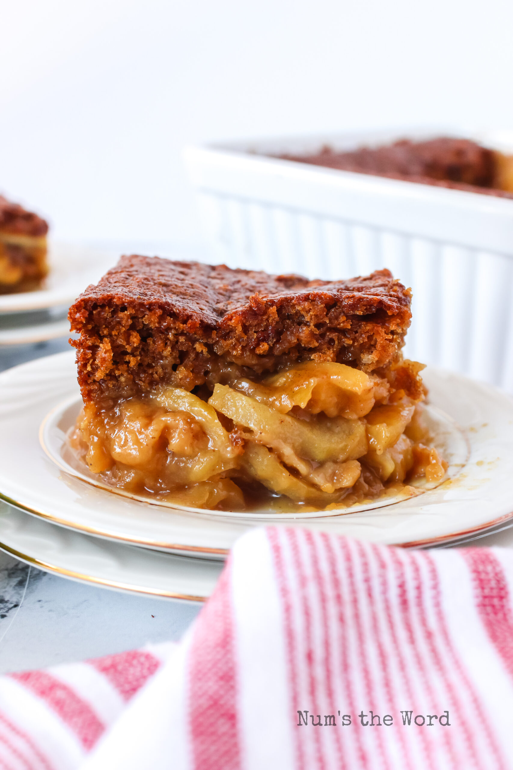 apple gingerbread cake on a plate showing the layers of apples and cake.