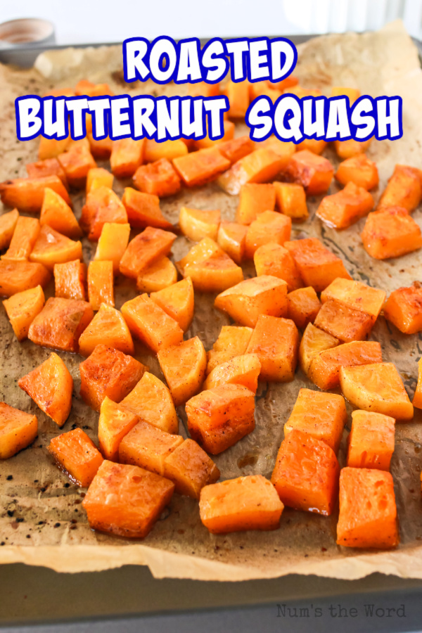 Main image for recipe of roasted butternut squash on a cookie sheet.