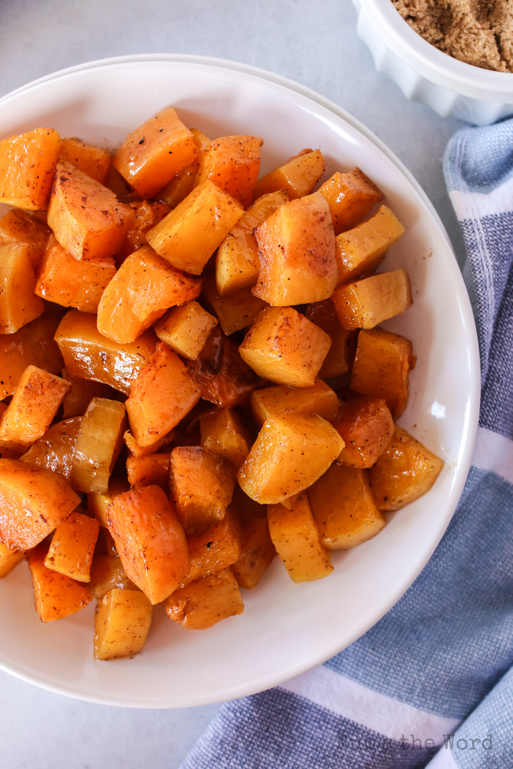 bowl of butternut squash, ready to serve.