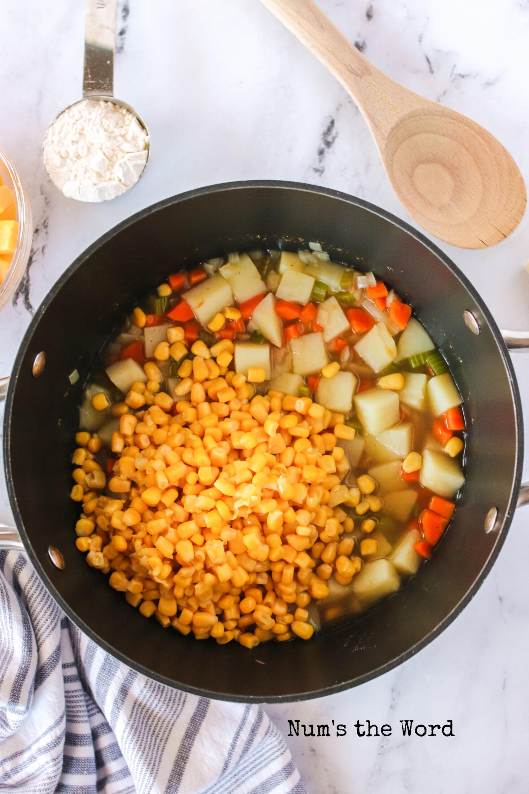 Corn added to potato mix.