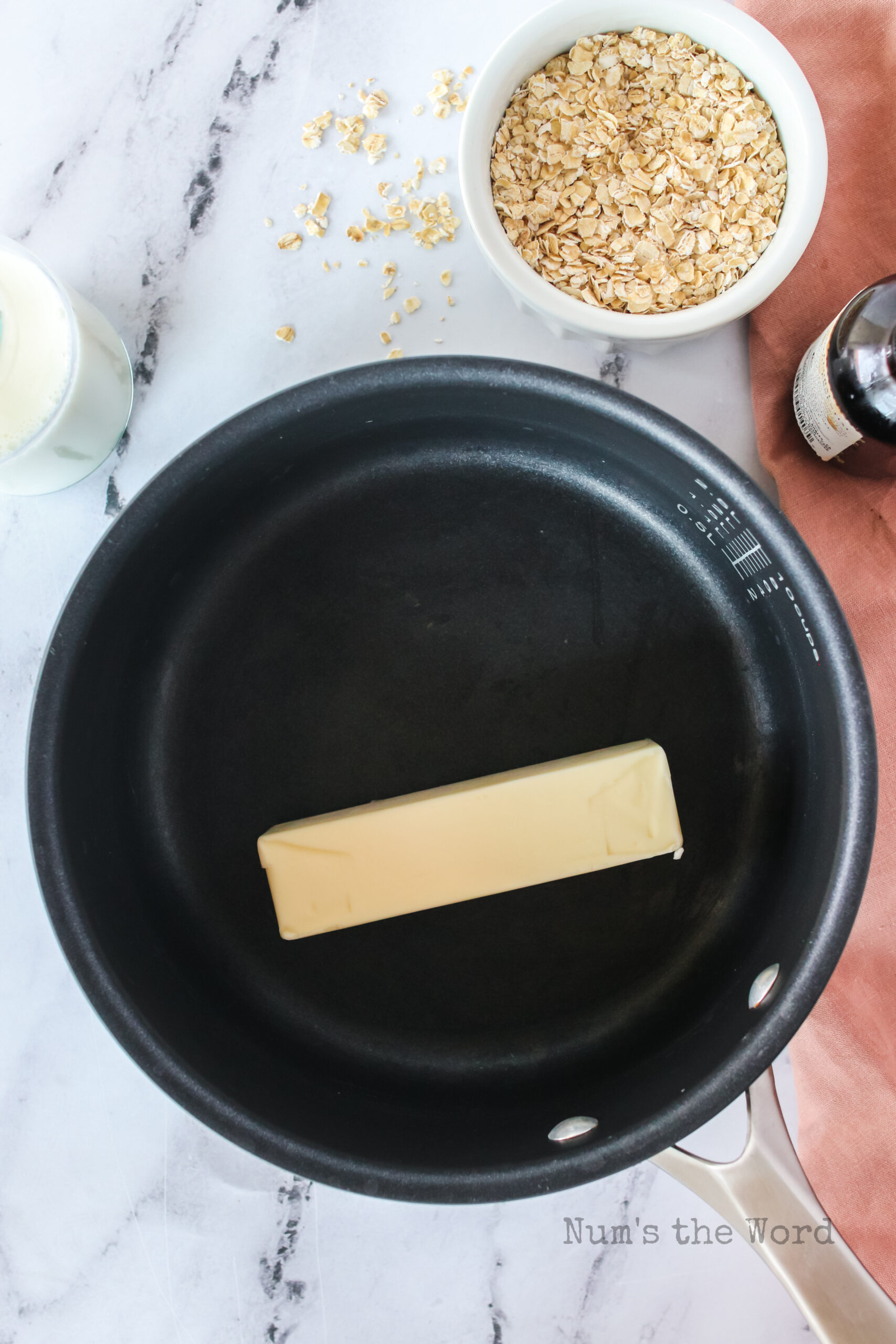 stick of butter in a pot, unmelted.