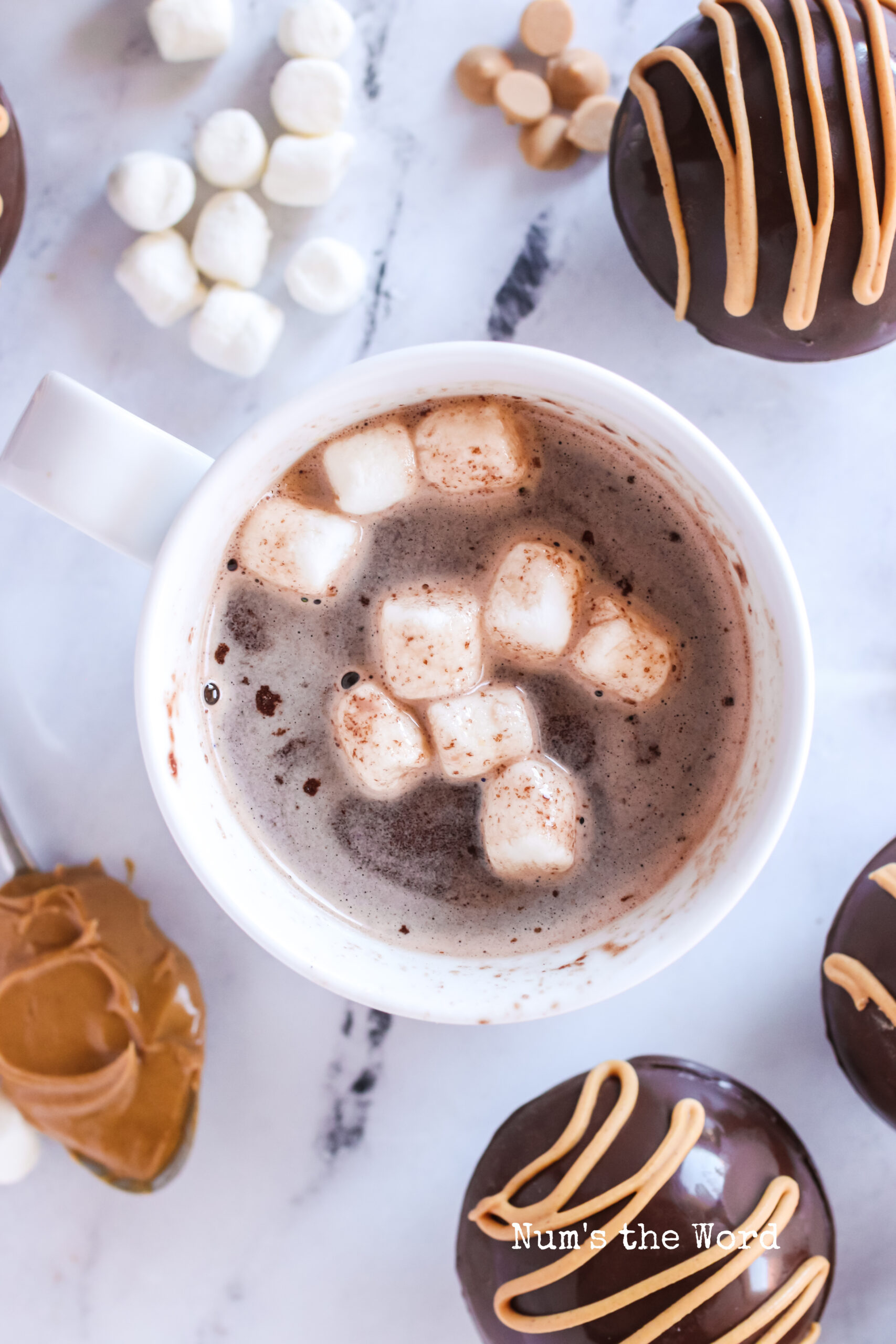 top view of hot cocoa bomb dissolved in a cup, ready to enjoy!